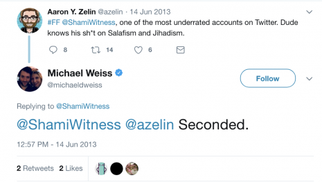 Weiss and ISIS recruiter on Twitter