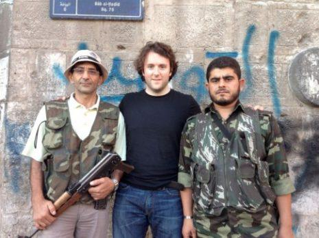 Aleppo, 2012  Michael Weiss with those lovable Syrian Jihadists.  He's the one in the middle., From InText
