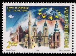Postwar Bosnia-Hercegovina postage stamp promoting interfaith mutual respect
