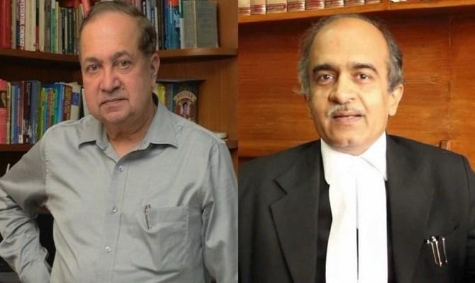 N. Ram (left) and Prashant Bhushan