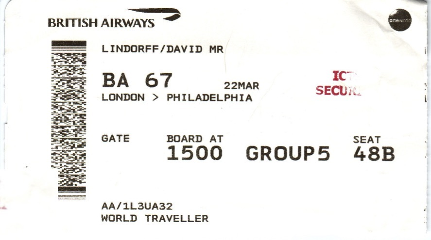 Author's boarding pass with 'ICE Security' stamp on it, placed there at Heathrow and calling for a special security search
