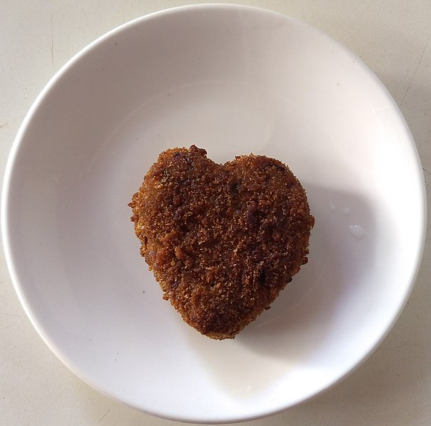 Heart-shaped vegetable cutlet