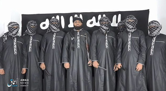 IS has released the photo of Lanka suicide bombers with mastermind Zahran Hashim in the middle., From InText