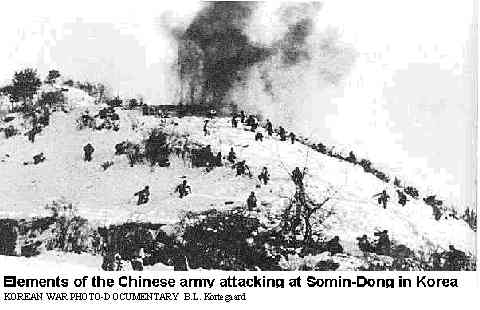 Chinese army attacking in Korea