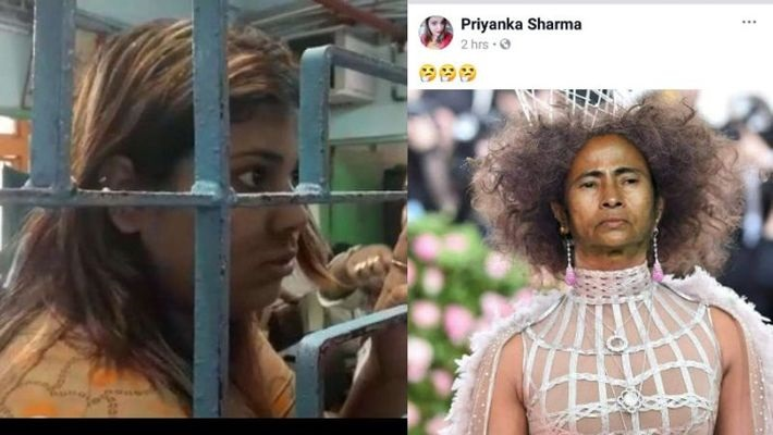 Priyanka Sharma (left) in custody over photo-shopped image of Bengal chief minister Mamata Banerjee