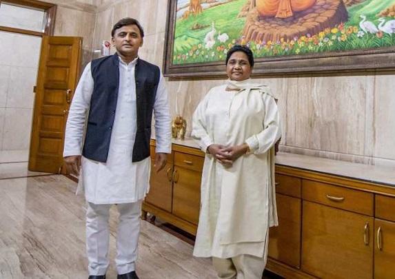 Akhilesh Yadav (BSP) and Mayawati (BSP)