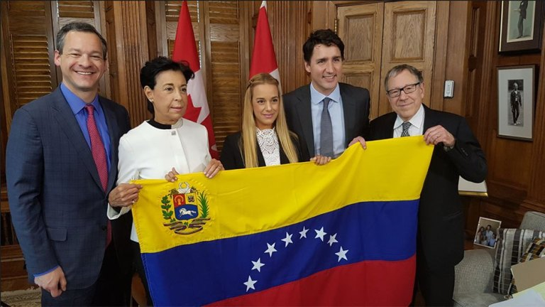 Justin Trudeau and Irwin Cotler with Voluntad Popular's Antonieta López and Lilian Tintori