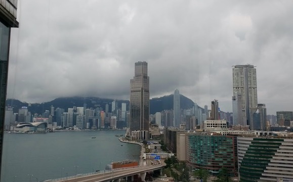 Hong Kong, Victoria Peak and Victoria Harbor viewed from Kowloon (photo by Dave Lindorff)