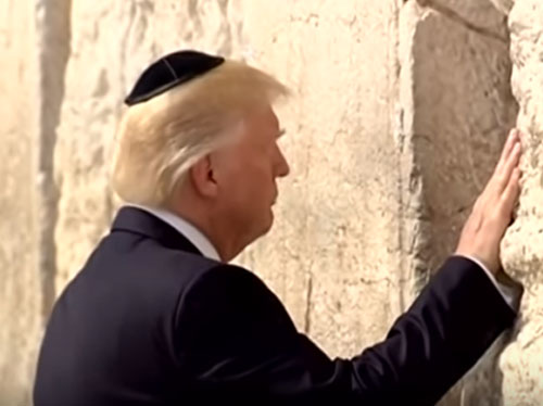 Donald Trump praying at the Western Wall., From InText