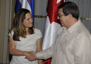 Chrystia Freeland and Cuban Foreign Minister Bruno Rodriguez, From InText