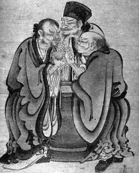 left to right, is the depiction of the famous allegorical story of Confucius, Laozi and Buddha each tasting vinegar