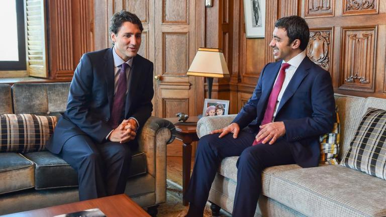 UAE foreign minister Sheikh Abdullah bin Zayed with Justin Trudeau, From InText