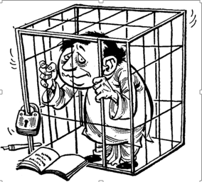 Cartoon of a poet in cage, From InText