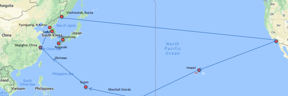 Voyage is planned for Hawaii, Marshall Islands, Guam, Okinawa and Hiroshima, Japan.  Other locations listed on map are other potential ports-of call on nuclear issues.