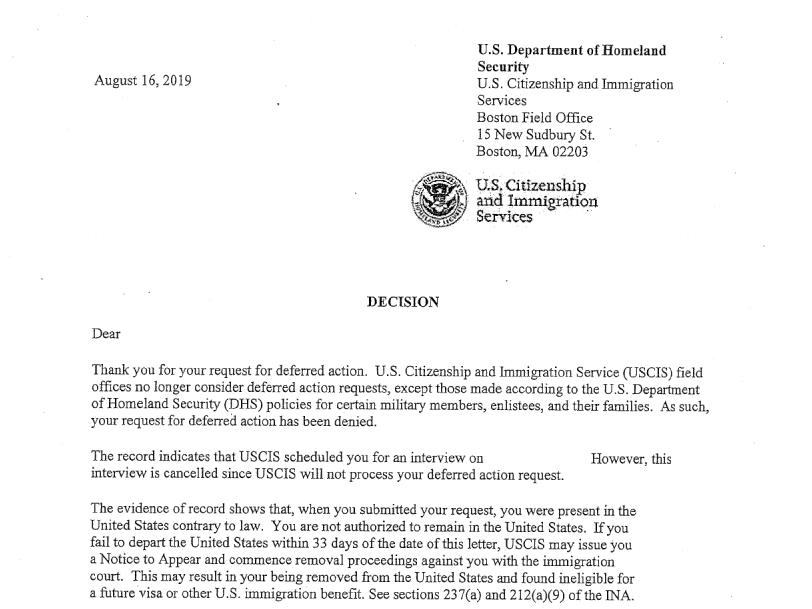letter the U.S. Citizenship and Immigration Service sent to immigrants