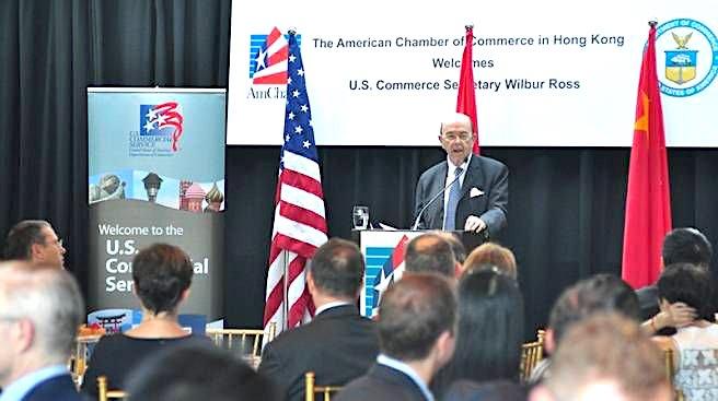 U.S. Secretary of Commerce Wilbur Ross addressing AmCham event in Hong Kong, 2017.