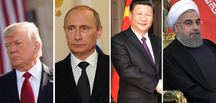 U.S. President Trump (Ph, Russian President Vladamir Putin,  Chinese President Xi Jinping, President of Iran Hassan Rouhani