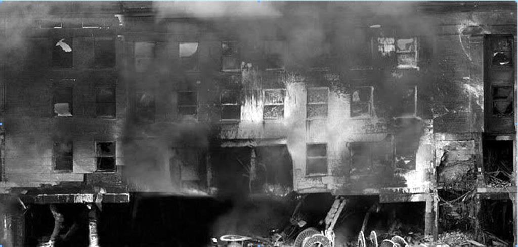 Figure 1: Composite image showing damage to the facade of the Pentagon on 9/11 showing 100 feet of bashed in first floor wall.