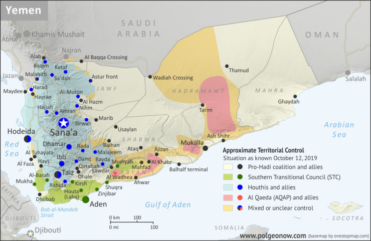 Yemen Control Map & Report, October 2019., From InText