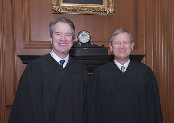 Associate Justice Brett M. Kavanaugh (left) and Chief Justice John G. Roberts, Jr. Credit: Fred Schilling, Collection of the Supreme Court of the United States., From InText