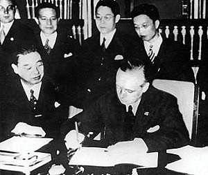 Joachim von Ribbentrop signing the Anti-Comintern Pact.