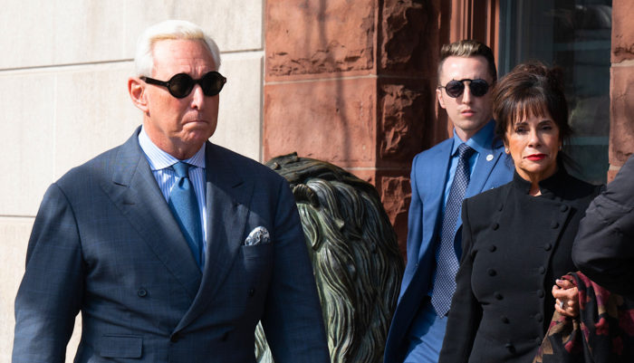 Stone on his way to court in February.