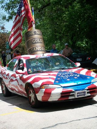 Flag Art Car commissioned by the Clinton Presidential Library