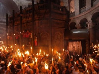 Easter celebration in the Church of the Holy Sepulcher., From InText