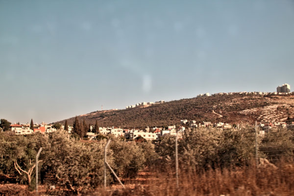 A view of Marda village, overwhelmed by the Ari'el illegal settlement.