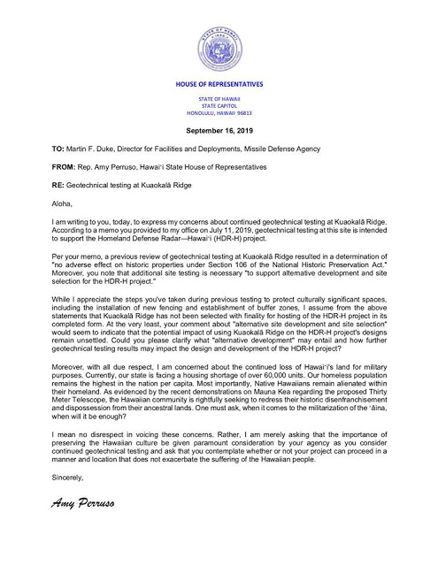 Letter of Amy Perruso, Hawaiian State Legislature