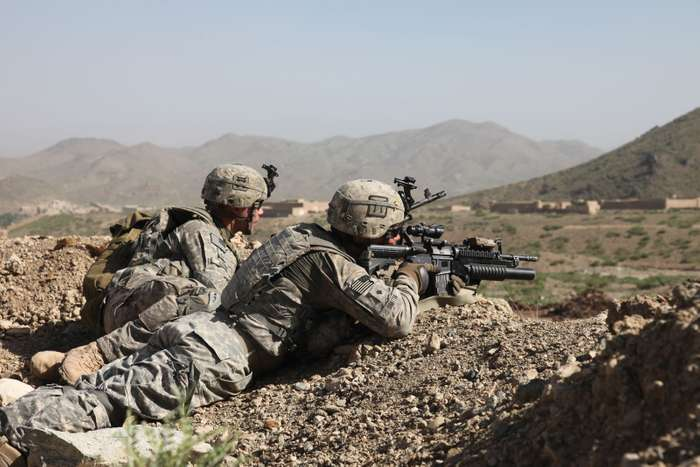 U.S. Army soldiers on security duty in Afghanistan.