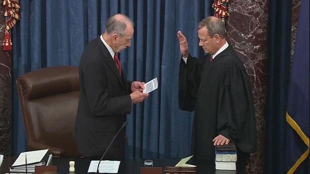 Chief Justice John Roberts sworn in by Senate President Pro Tempore Chuck Grassley