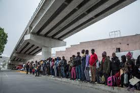 Refugees waiting at Tijuana border