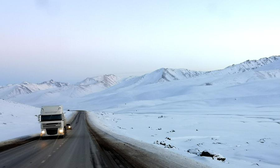 Chinese cargo truck coming from the Kyrgiz-China border.