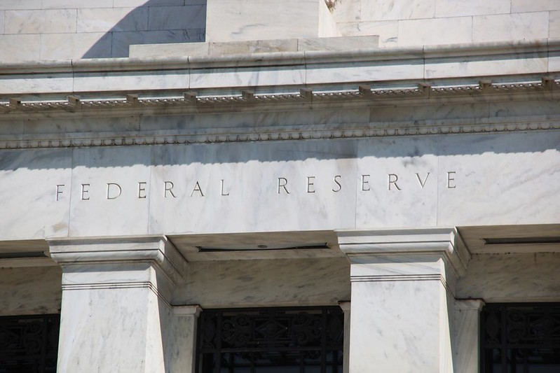 The main entrance to the Federal Reserve Building in Washington, D.C.