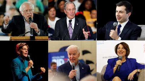 Democratic primary candidates (top row from left) Bernie Sanders Mike Bloomberg Pete Buttigieg (bottom row) Elizabeth Warren Joe Biden and Amy Klobuchar