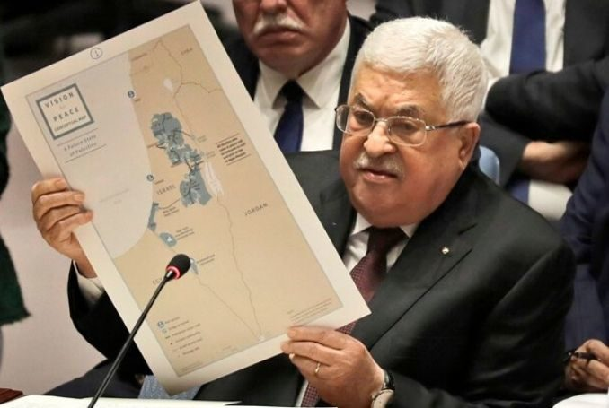 Palestinian President Mahmoud Abbas addresses the United Nations Security Council on February 11.