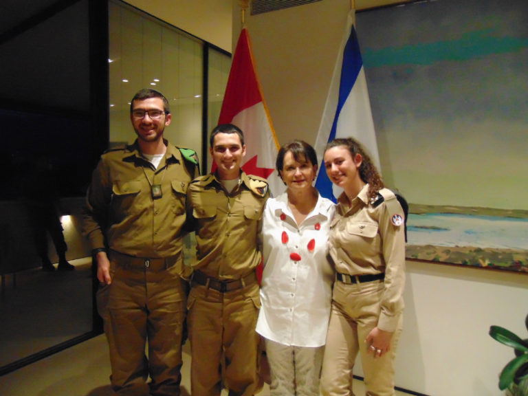 Ambassador Deborah Lyons with Canadians fighting in IDF Yaakov Herman, Robbie Kohos and Ayala Rotenberg