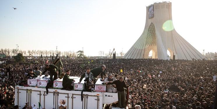 The funeral procession of Qasem Soleimani in Tehran.