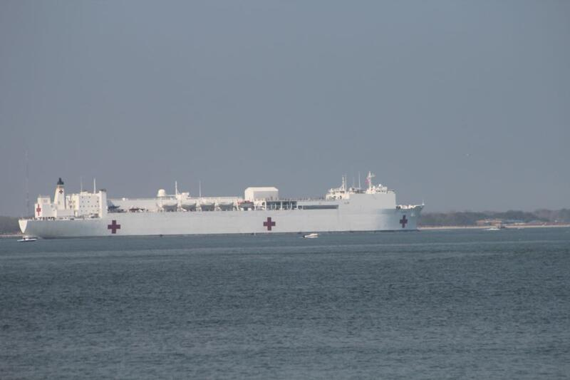 USNS Comfort in the Chesapeake Bay, headed for the Atlantic