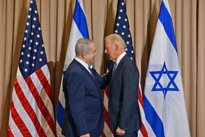 Israeli Prime Minister Benjamin Netanyahu (L) meets with US politician Joe Biden., From InText