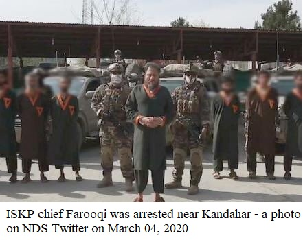 ISKP chief Farooqi was arrested near Kandahar