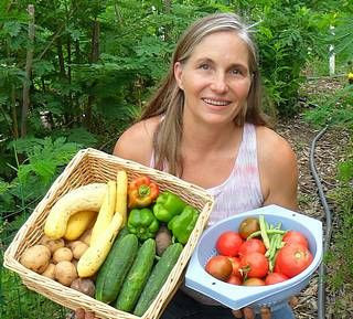 Marjory with Home Grown Veggies