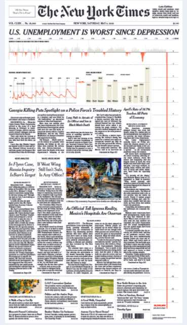 May 9 front page of the New York Times