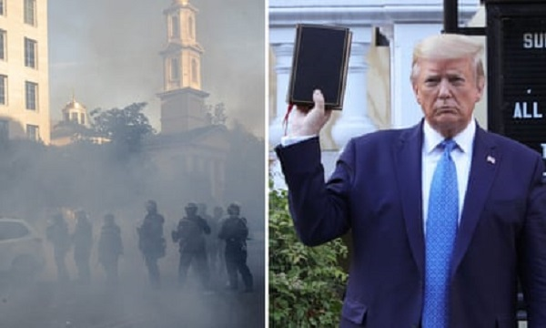To prepare for Trump's photo op paramilitary forces not only cleared the street of protesters with tear gas flash bang grenades pepper balls and rubber bullets but expelled the church's rector, From InText