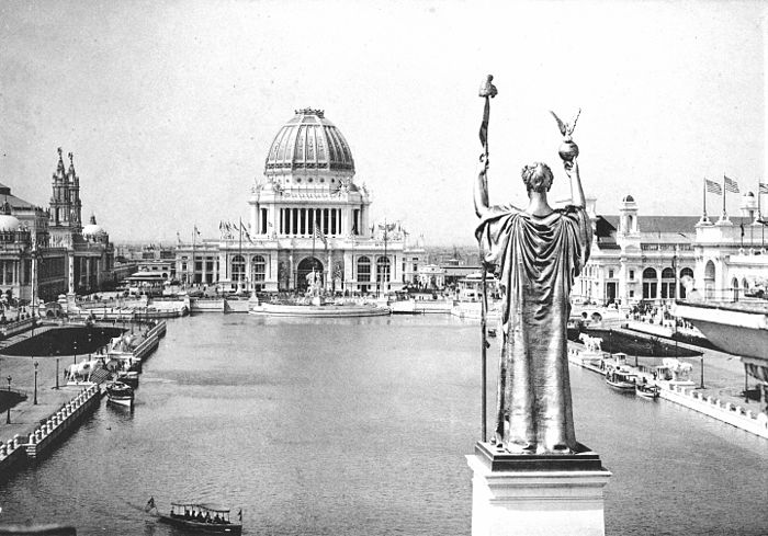 Looking West From Peristyle, Court of Honor and Grand Basin of the 1893 World's Columbian Exposition in Chicago, Illinois. Credit: Public Domain
