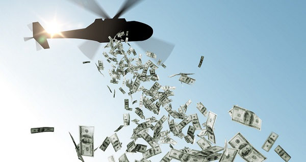 The Fed is now just one step away from implementing Ben Bernanke's infamous suggestion that if all else fails the Fed can drop money from a helicopter