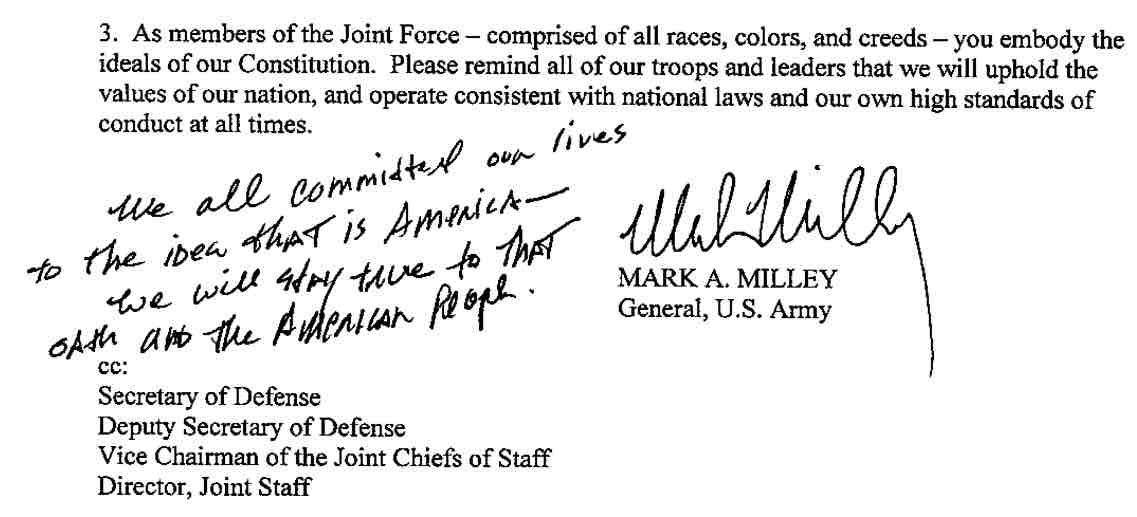A portion of Gen. Milley's memo to the troops, with added note, From InText