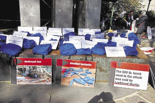 Some of the 40 blue backpacks worn in a protest in New York city against the war in Yemen. Each backpack was accompanied by a sign with the name and age of a child killed on a school bus in Dahyan, northern Yemen, on August 9, 2018, in a Saudi/UAE airstri, From InText
