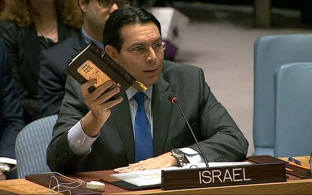 Israeli UN Ambassador Danny Danon holding Hebrew Bible/Old Testament at the UN.